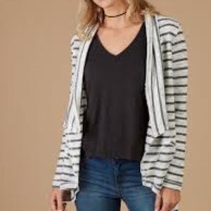 Altar'd State Patches Grey Striped Cardigan Top